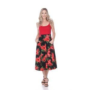 S/S 18' FLORAL Flared Midi Skirt w/ Pocket 709-181